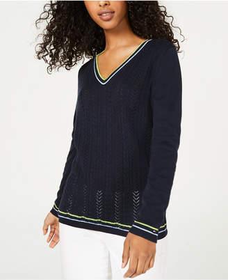 Tommy Hilfiger Cotton Pointelle Sweater