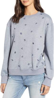 Currently in Love Zodiac Embroidered Sweatshirt