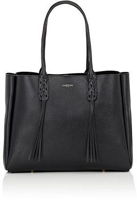 Lanvin Women's Tasseled-Handle Small Shopper-BLACK $1,550 thestylecure.com