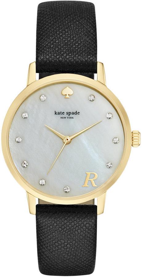 Kate Spadekate spade new york Women's Metro Monogram Black Leather Strap Watch 34mm