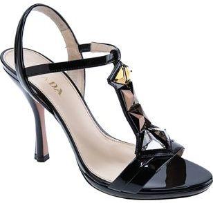 PRADA Jeweled T-Strap- Black