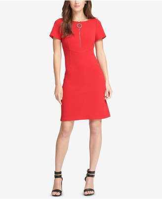 DKNY Zip-Front Fit & Flare Dress