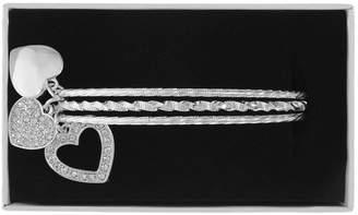 Liz Claiborne White Silver Tone Heart Bangle Bracelet