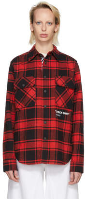Off-White Off White Red and Black Quote Plaid Shirt