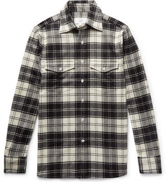 Dunhill Checked Brushed Wool-Blend Flannel Shirt - Men - Black