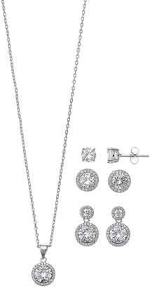 Paige Harper Fine Silver Plated 4 Piece Cubic Zirconia Necklace And Earring Gift Set