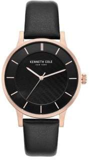 Kenneth Cole New York Analog Rose-Goldtone Dial Leather Strap Watch
