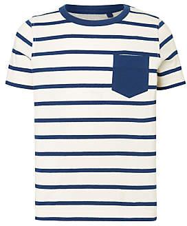 John Lewis Boys' Contrast Stripe T-Shirt, Blue/White