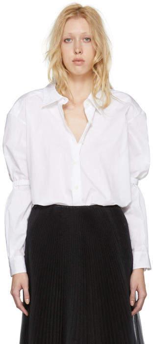 Prada White Poplin Off-the-Shoulder Shirt