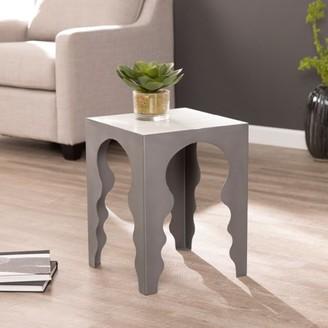 Southern Enterprises Mikkah Square Accent Table w/ Marble Top, Matte Gray