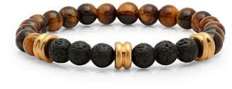 FINE JEWELRY Steeltime Mens Tigers Eye & Black Lava Beaded Bracelet