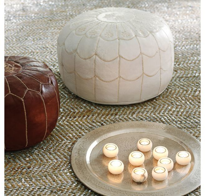 Lulu White Moroccan Leather Pouf
