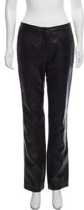 Gianni Versace Mid-Rise Leather Pants