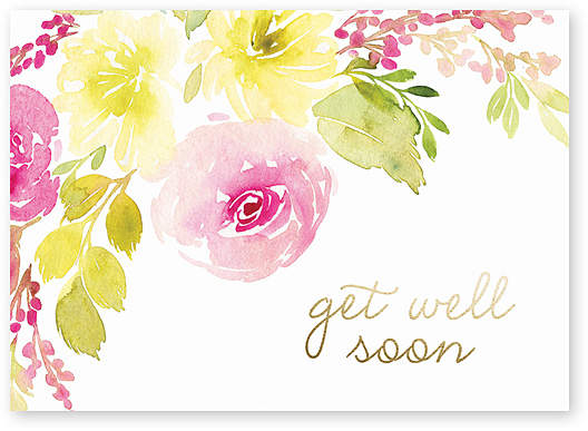 Watercolor Floral Get Well Greeting Card - Set of Six
