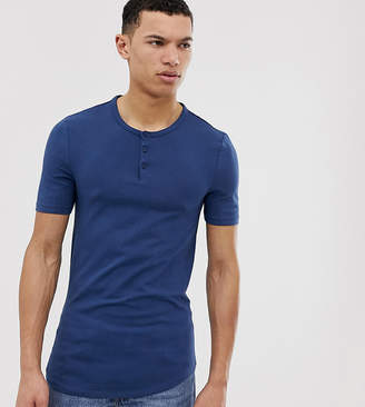 Asos DESIGN Tall muscle fit t-shirt with grandad neck in blue