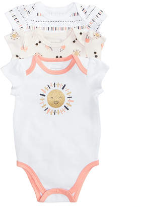 First Impressions Baby Girls 3-Pack Graphic-Print Cotton Bodysuits, Created for Macy's
