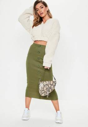 Missguided Khaki Ribbed Button Front Split Midi Skirt