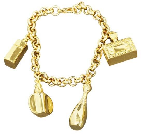Christian Dior Christian Dior Gold Tone Metal Chain Charm Glossy Bracelet