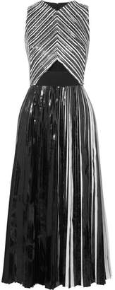 Proenza Schouler Pleated Coated-cloqué Midi Dress - Black