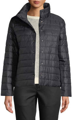 Eileen Fisher High-Collar Snap-Front Recycled Nylon Jacket, Plus Size