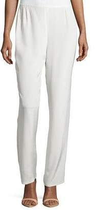Caroline Rose Silk Crepe Straight-Leg Pants, White