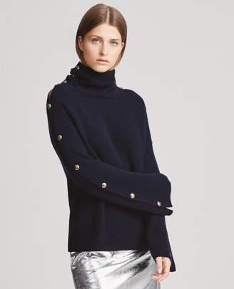 Ralph Lauren Button-Sleeve Cashmere Sweater
