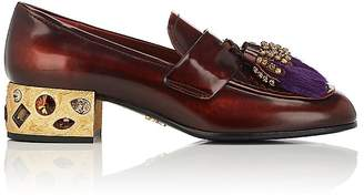 Prada Women's Embellished Leather Loafers