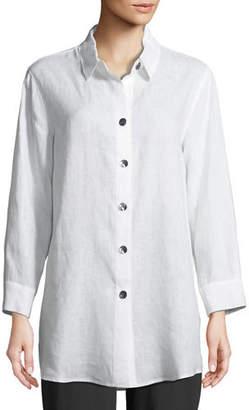 Caroline Rose Tissue Linen Boyfriend Shirt, Plus Size