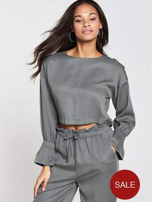 NATIVE YOUTH Elasticated Cuff Top - Grey