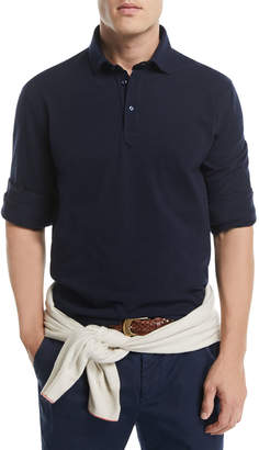 Brunello Cucinelli Long-Sleeve Cotton Polo Shirt