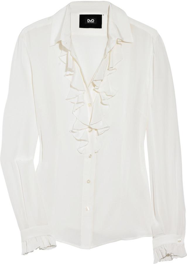 D&G Ruffled silk-crepe blouse