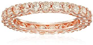 14k Rose Gold Plated Sterling Silver Round Cubic Zirconia Eternity Band Ring (2.5mm)
