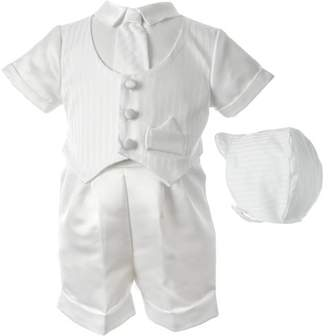 Haddad Brothers Christening Baptism Newborn Baby Boy Special Occasion 3 Pc Satin Short Pant Outfit Set w/ Striped Vest & Matching Hat