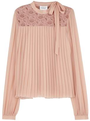 Giambattista Valli Dusky Pink Pleated Silk Chiffon Top
