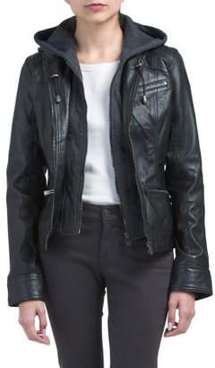 Detachable Hood Leather Jacket
