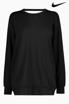 Next Womens Nike Dry Black Long Sleeve Studio Crew