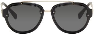 Versace Black Double Bridge Aviator Sunglasses $240 thestylecure.com