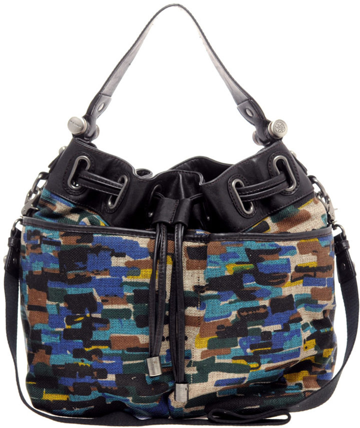 Ameko Printed Canvas Leather Trim Drawstring Bucket Bag