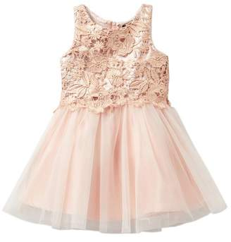 Zunie Glazed Lace & Tulle Dress (Little Girls)