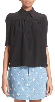 Women's Marc Jacobs Silk Short Sleeve Blouse $375 thestylecure.com