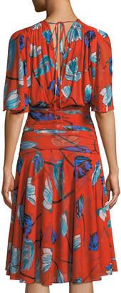 Diane von Furstenberg Shirred Floral-Print V-Neck Dress