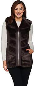 Dennis Basso Platinum Collection Chevron FauxFur Vest