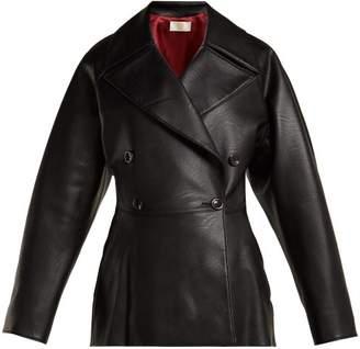 Sara Battaglia - Double Breasted Faux Leather Jacket - Womens - Black