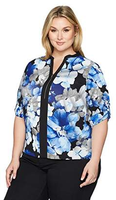 Calvin Klein Women's Plus Size Print Roll Sleeve Top with Block and Zip