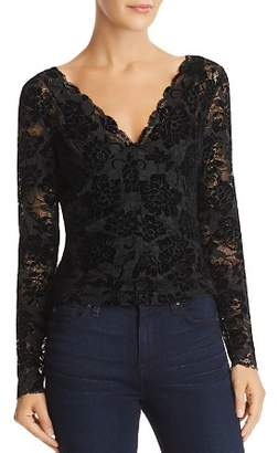 GUESS Drea Sheer Flocked Lace Top