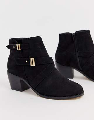 Head Over Heels by Dune Philipa black buckle ankle boot