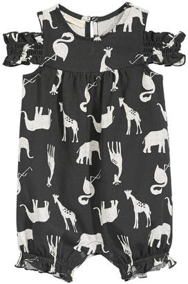 First Impressions Baby Girls Safari-Print Cotton Romper, Created for Macy's