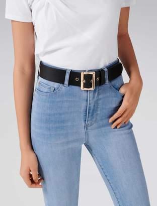 Forever New Mac Rectangle Buckle Waist Belt - Black. - xs s