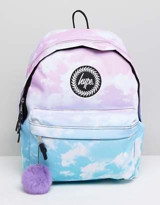 Hype Backpack in Contrast Cloud Print
