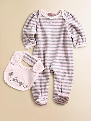 Juicy Couture Infant's Striped Footie & Bib Set